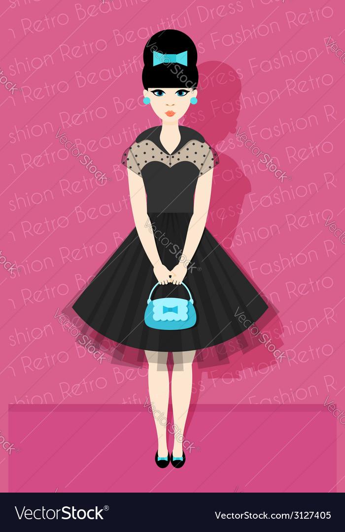 Pretty Retro Girl in Flat Style