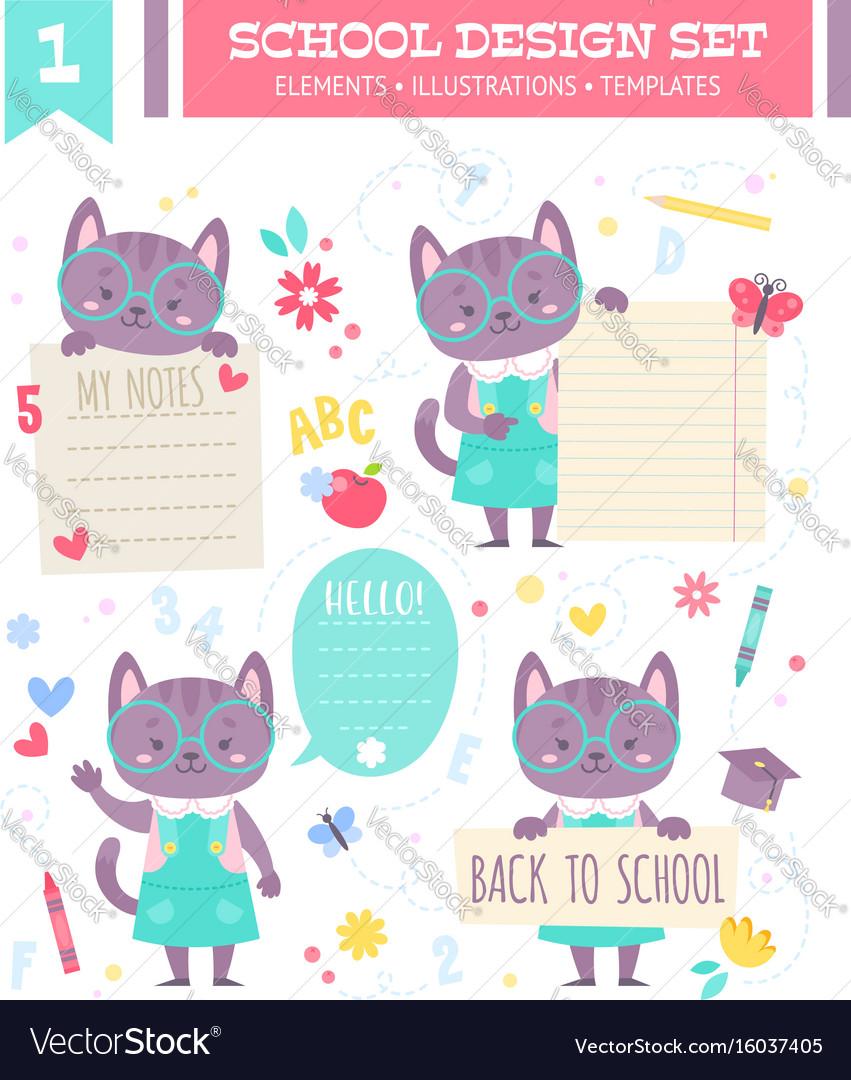 School design set with cartoon character