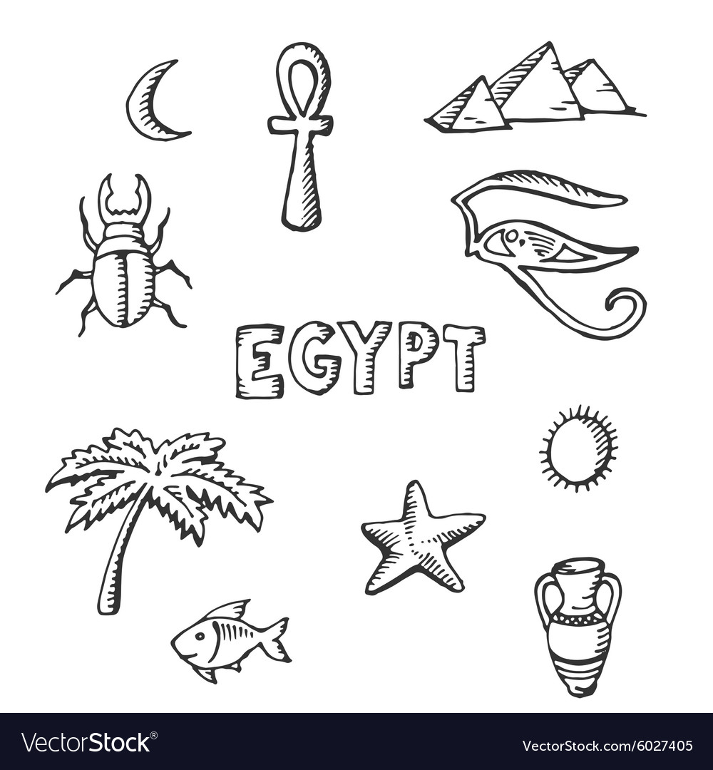 Sketch Collection Of Egyptian Symbols Royalty Free Vector