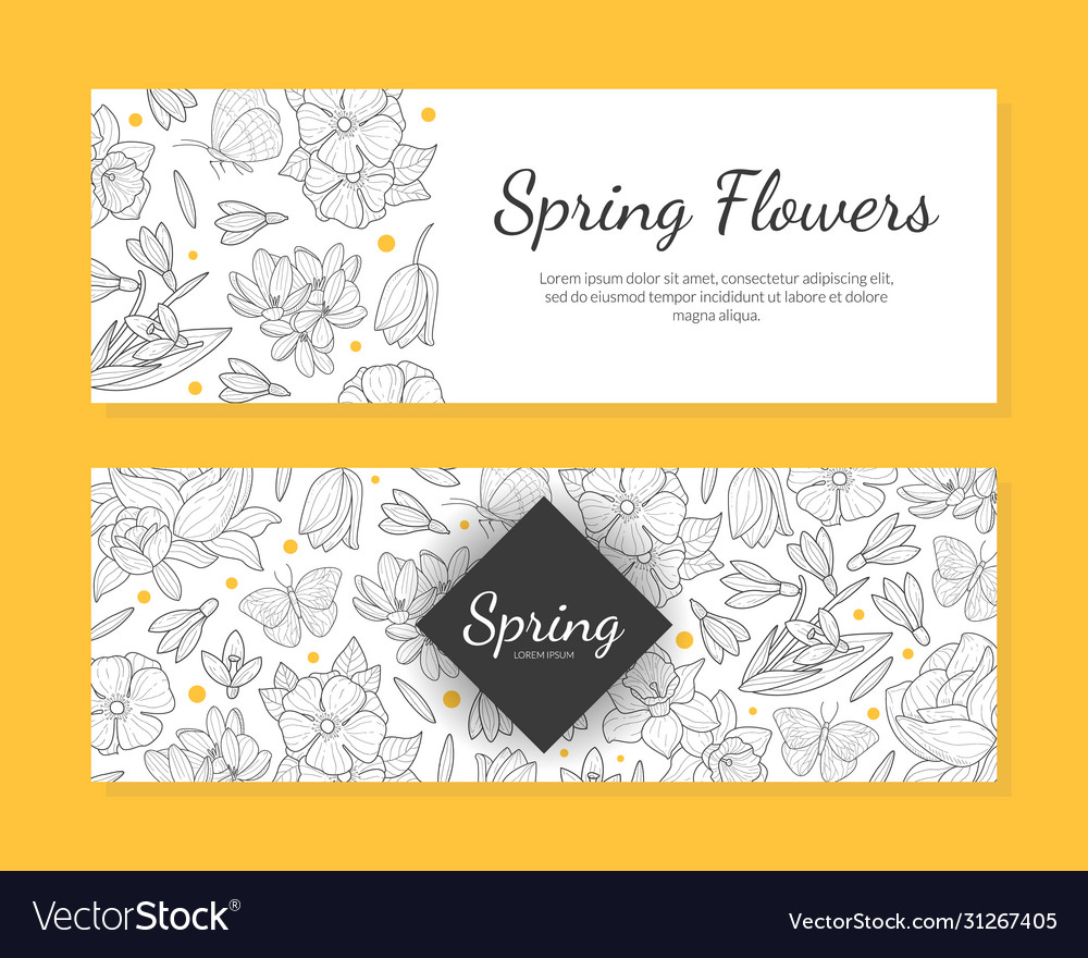 Spring flowers banner templates set save date