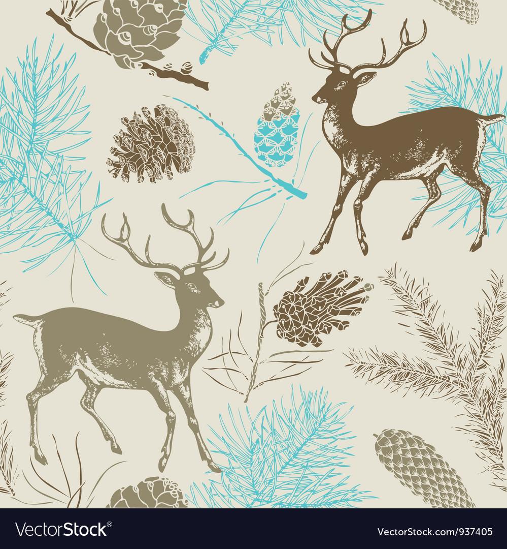 Vintage Deer Forest Pattern