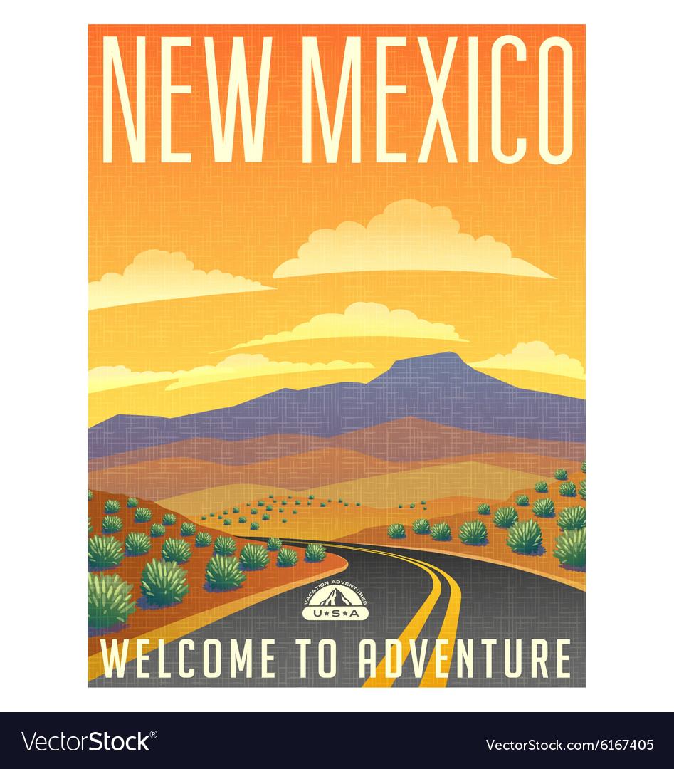 Vintage poster sticker USA New Mexico