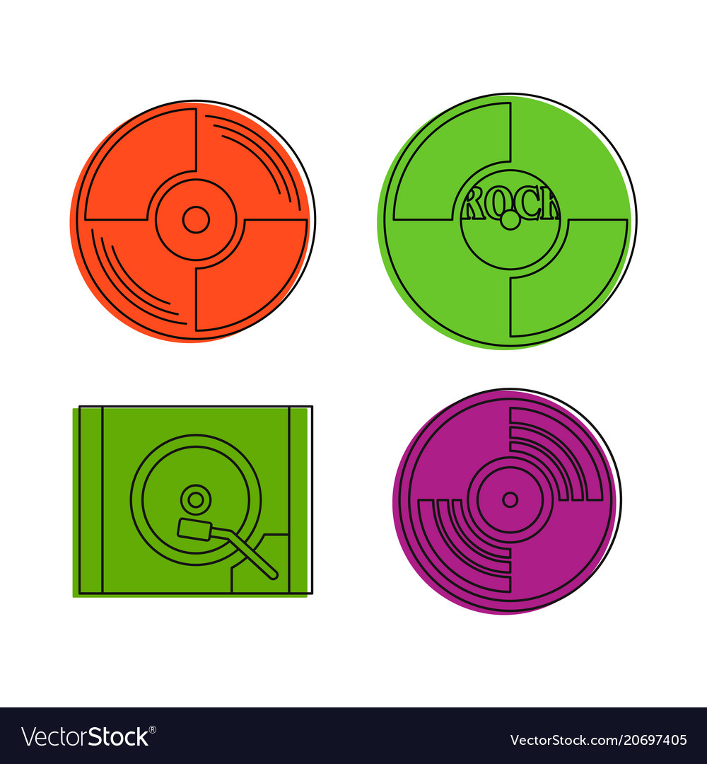 Vinyl disk icon set color outline style