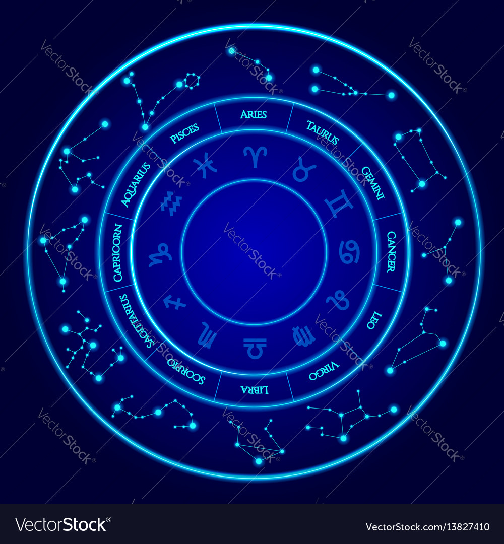 Constellations set twelve signs of the vector image