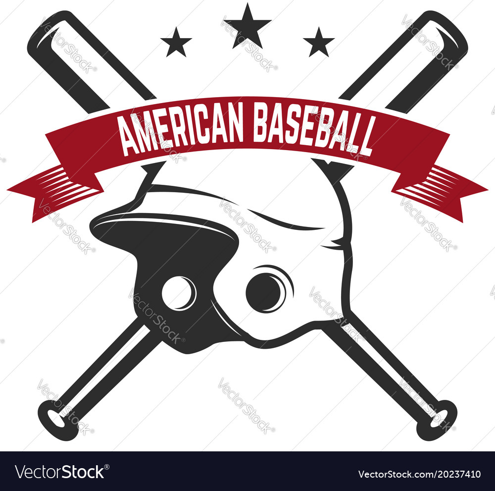 Emblem with crossed baseball bat and baseball vector image