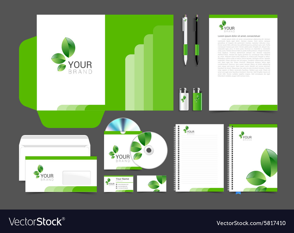 Floral stationery template design green leaves vector image