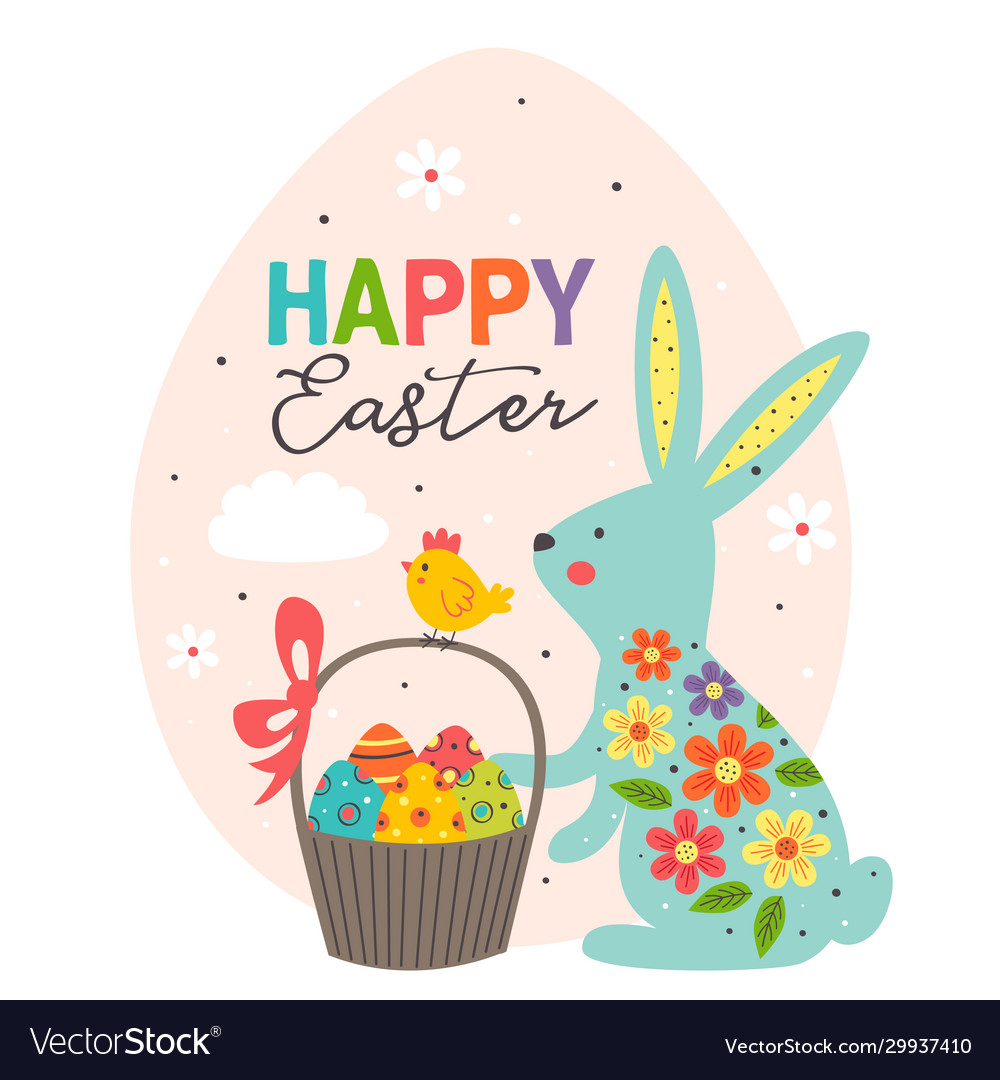 Greeting card with blue easter bunny in egg
