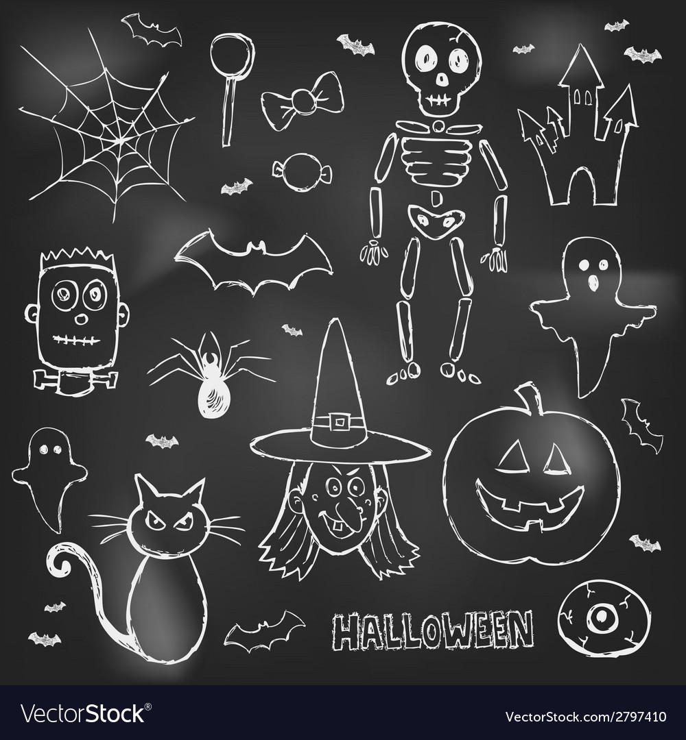 Halloween hand drawn doodles over black board