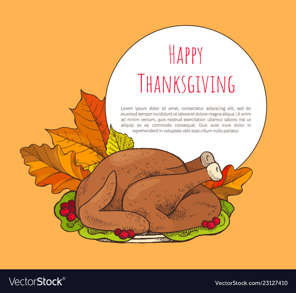 Happy thanksgiving poster with turkey on plate