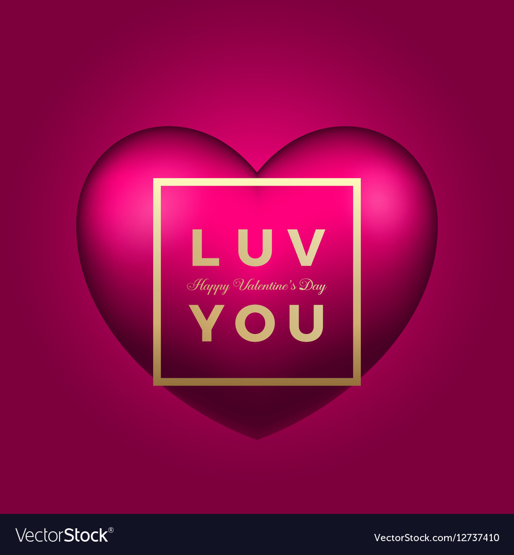 love you heart on pink background royalty free vector image
