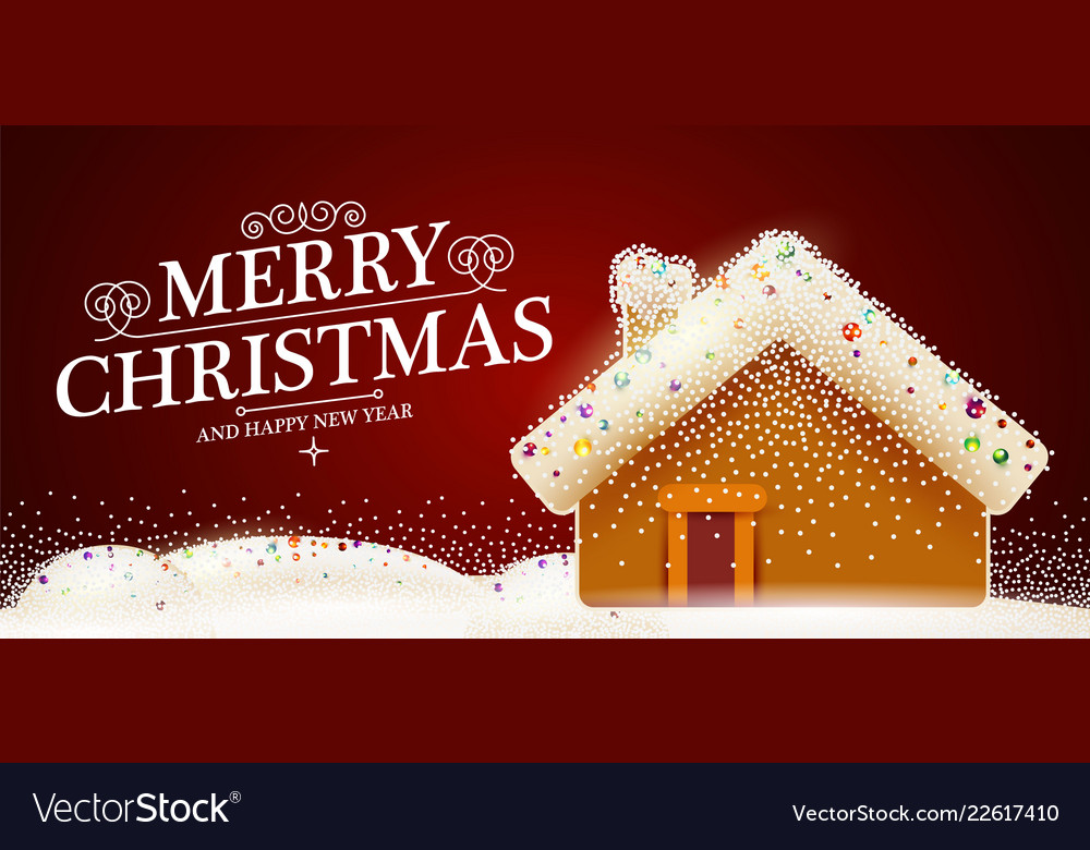 Merry Christmas Cute Background With Gingerbread Vector Image