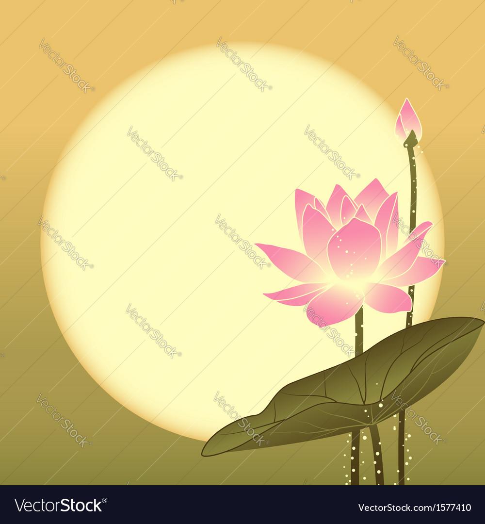 Mid autumn festival lotus flower and full moon vector image izmirmasajfo