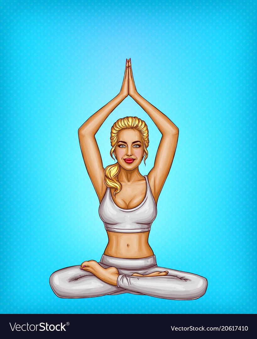 Pop art blonde girl doing yoga padmasana