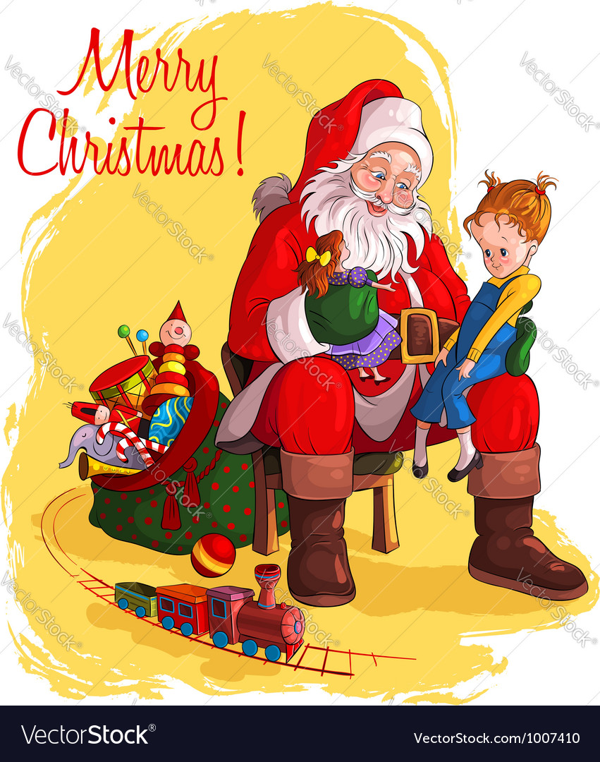 Santa claus and little girl christmas theme