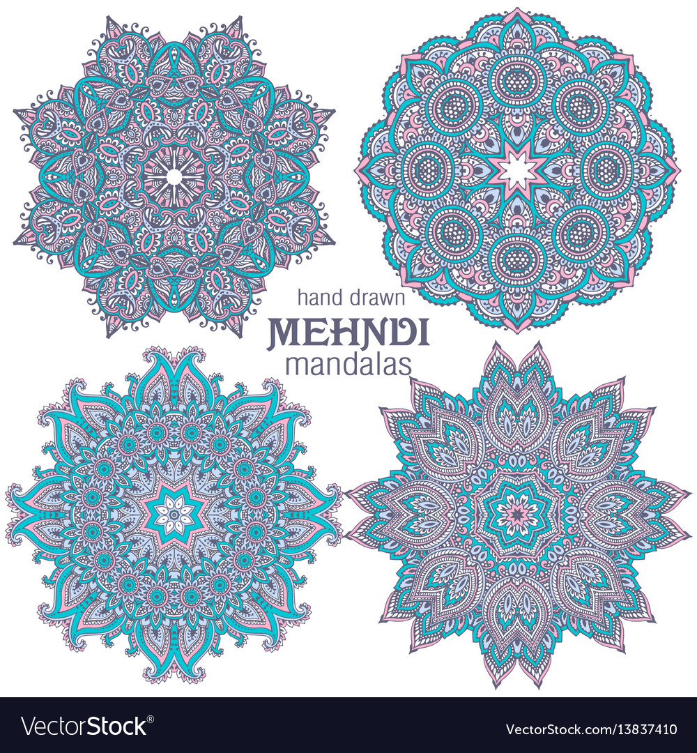 Set four abstract round lace design
