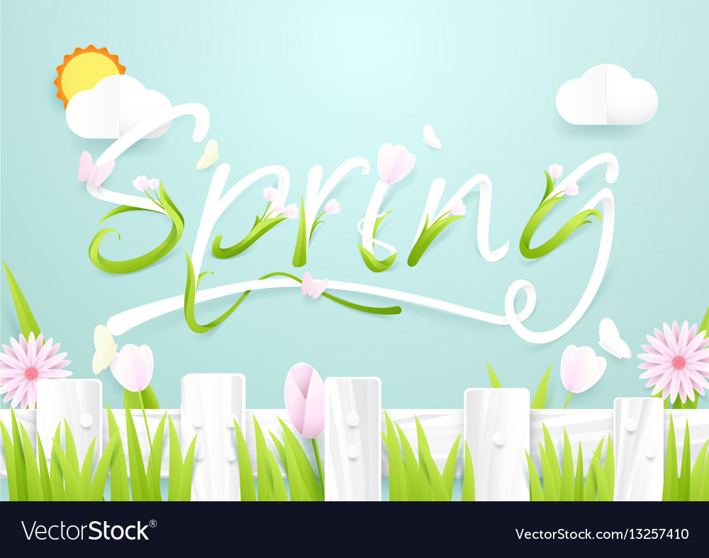 Spring season concept wooden fence with flowers