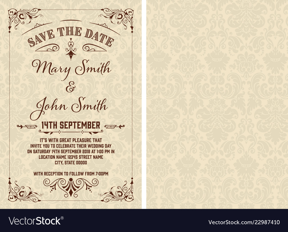Vintage save date template layered