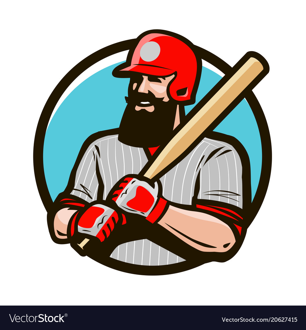 Baseball player in helmet holding baseball bat