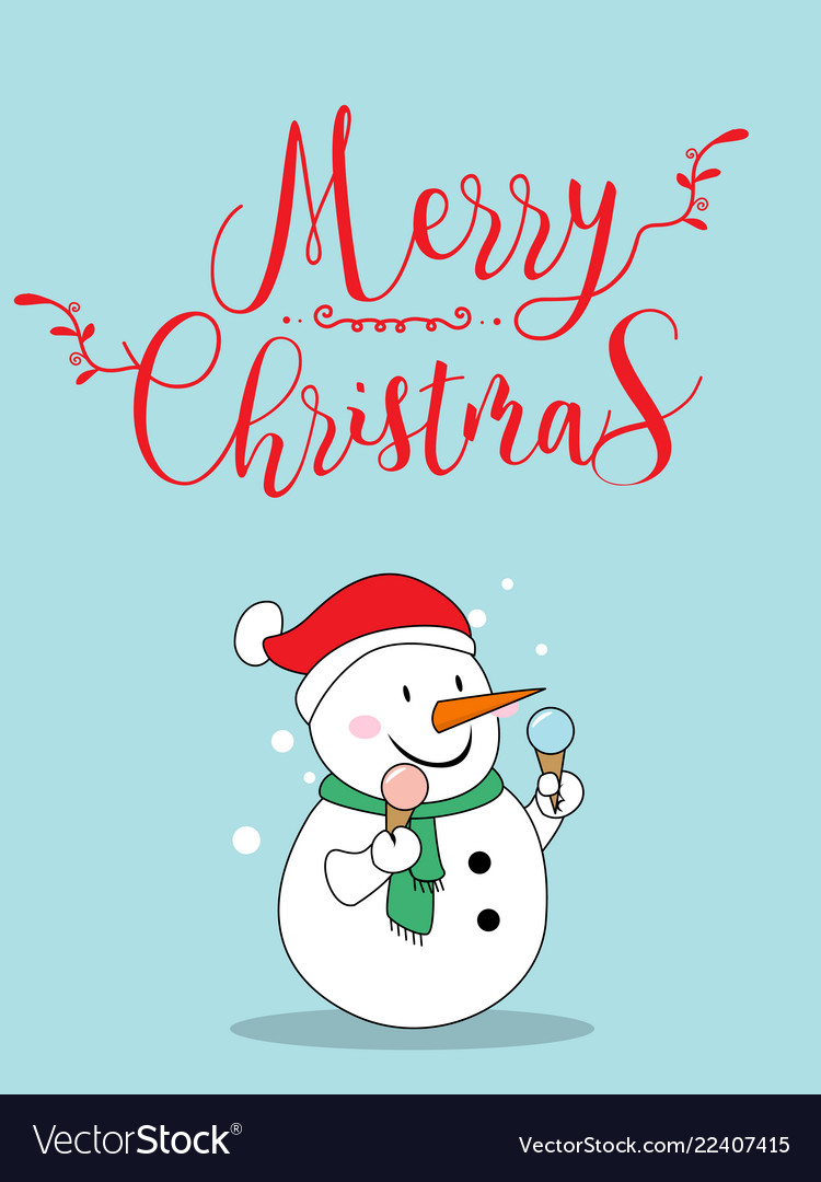 Cute snow christmas greeting card