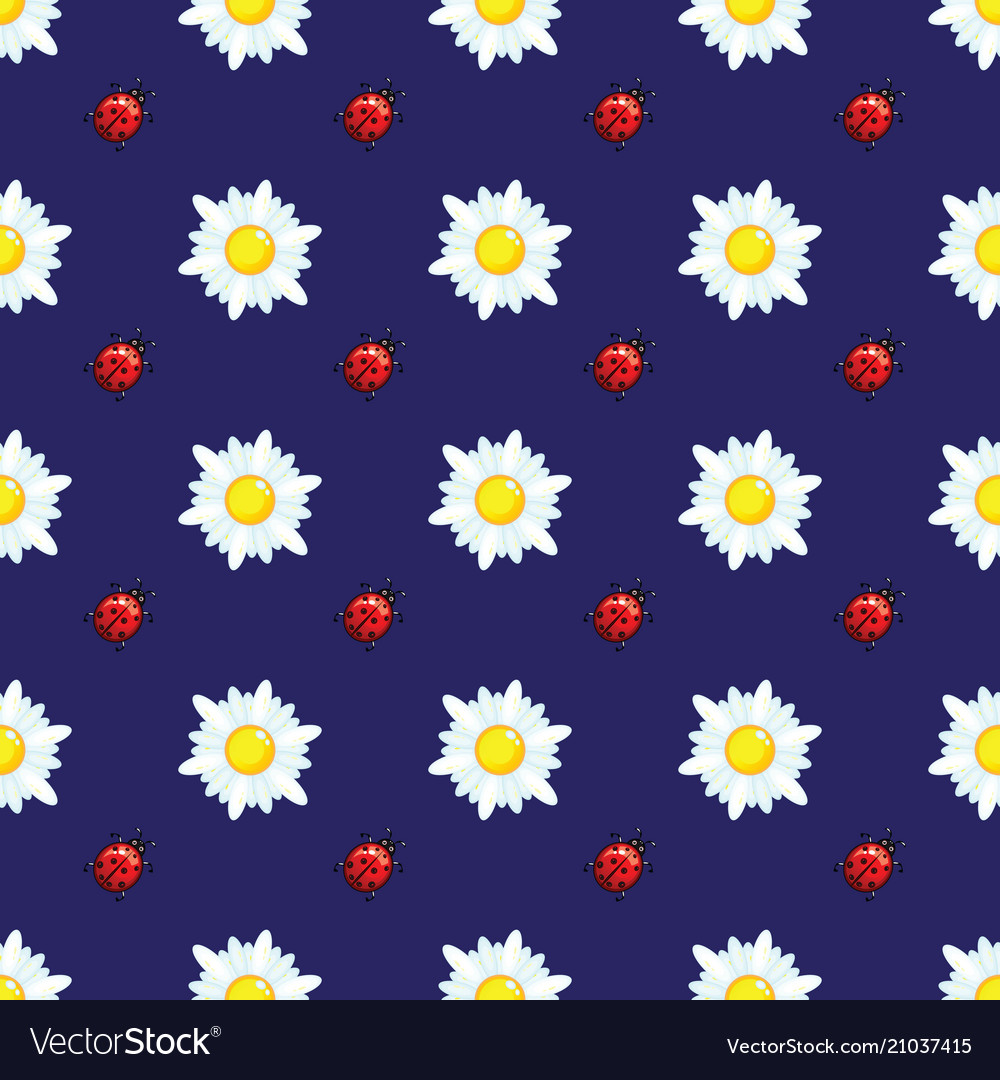 Daisies and ladybugs on blue