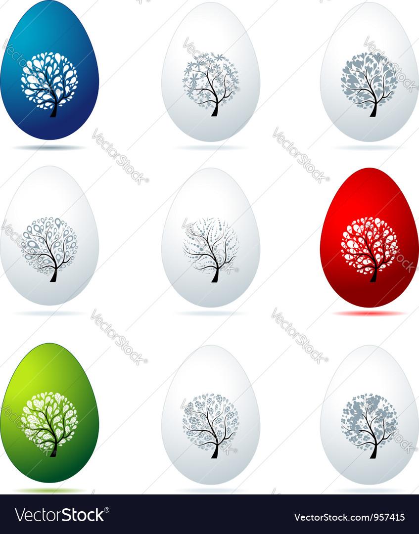 Easter eggs design art trees