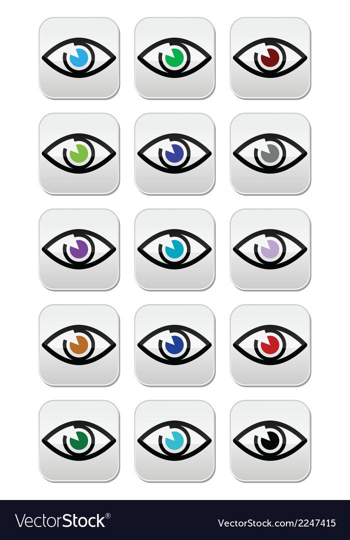 Eye colors sight icons set - icons set vector image
