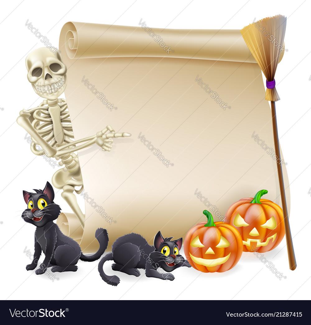 Halloween skeleton scroll banner