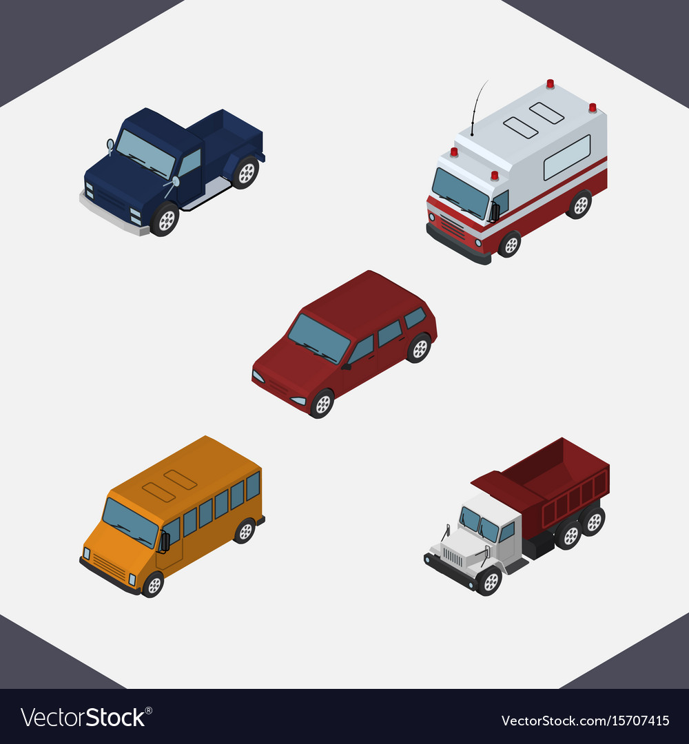 Isometric automobile set of first-aid autobus vector image