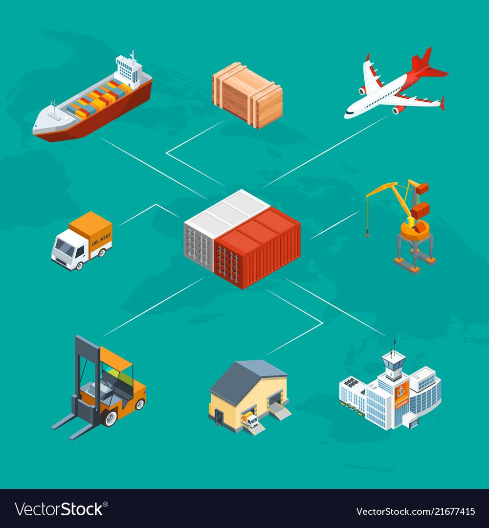 Isometric marine logistics and seaport