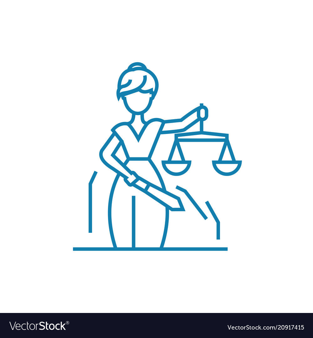 Justice system linear icon concept justice system vector image