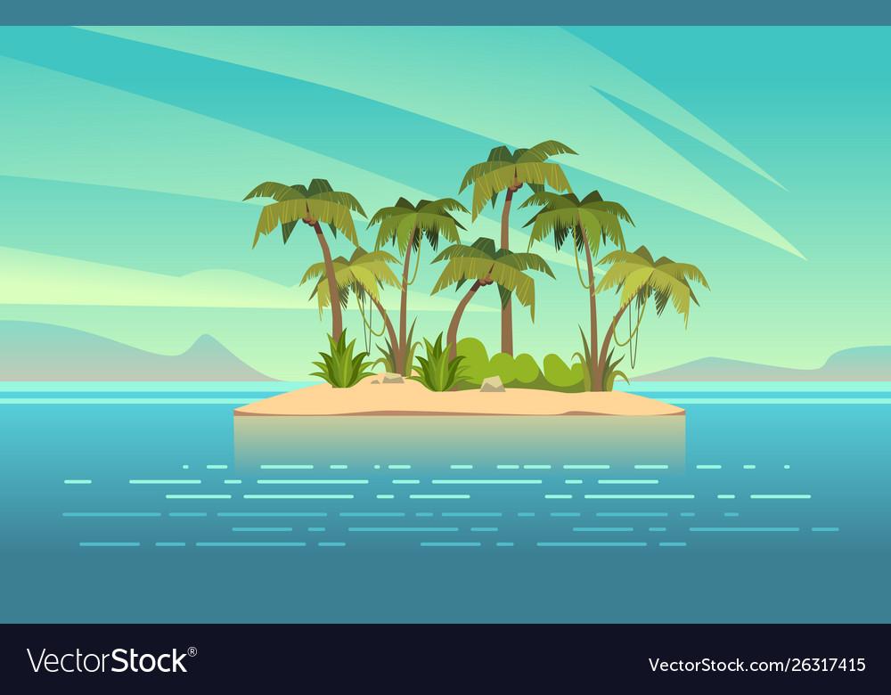 Ocean island cartoon tropical island with palm