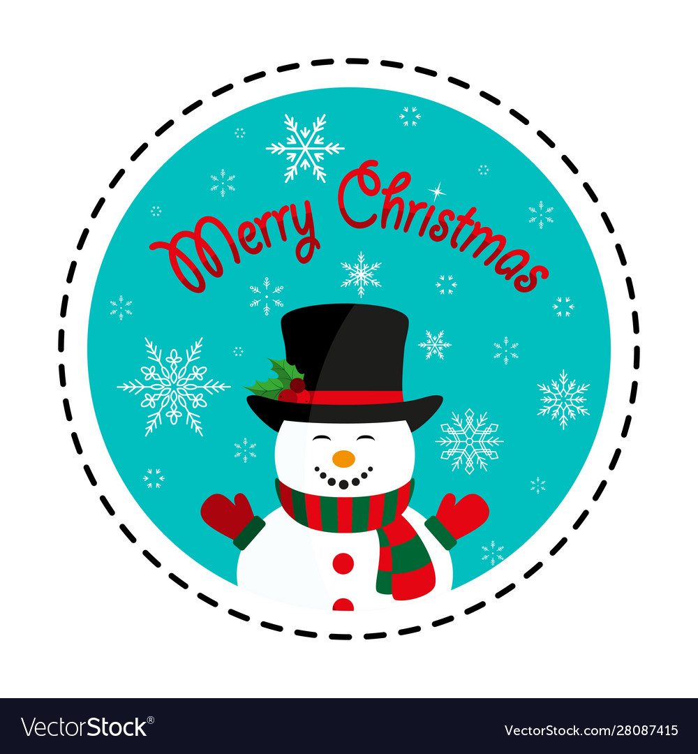 Snowman in black hat merry christmas