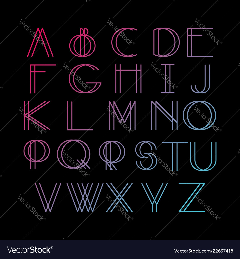 Thin line style linear modern font typeface made