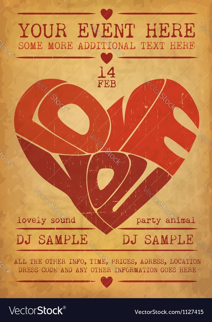 Valentines Day Party Poster Royalty Free Vector Image