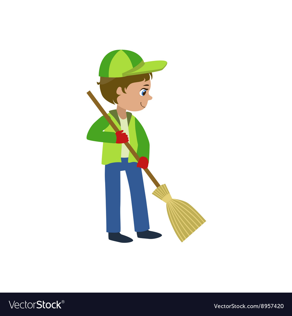 Boy With A Broom Outdoors vector image
