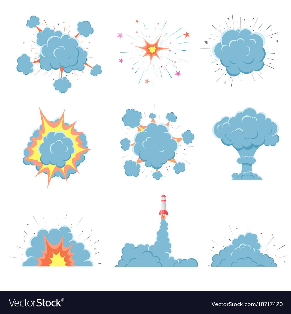 Cartoon bomb explosion with smoke
