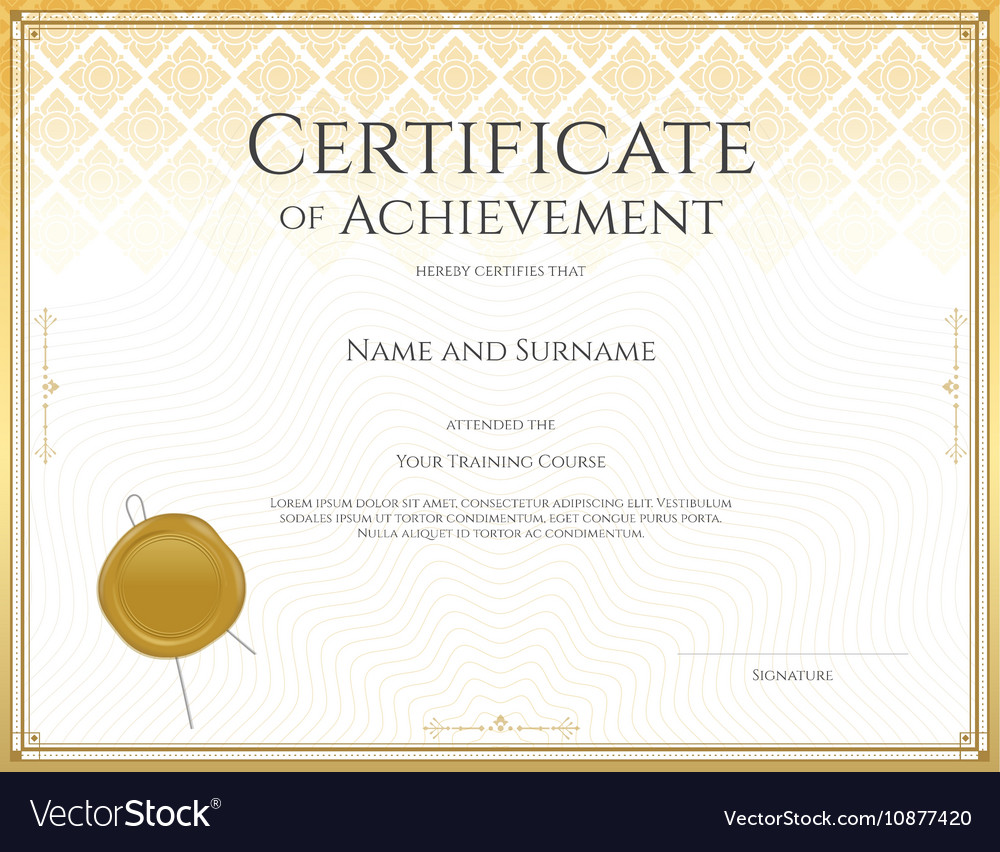 certificate achievement gold 13 royalty free vector image