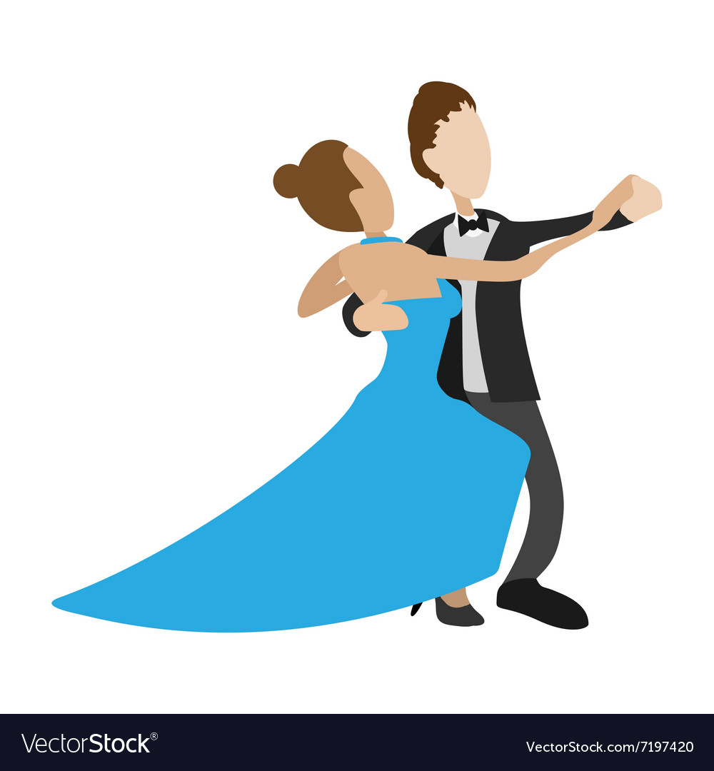 Couple dancing the waltz cartoon