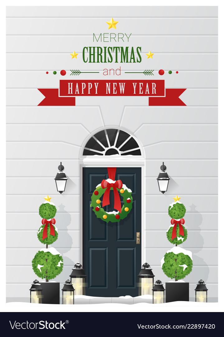 Decorated christmas front door background