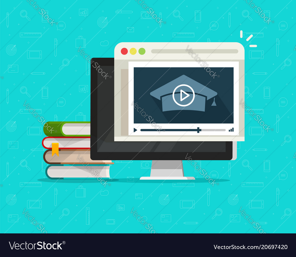 Education via online video on computer vector image