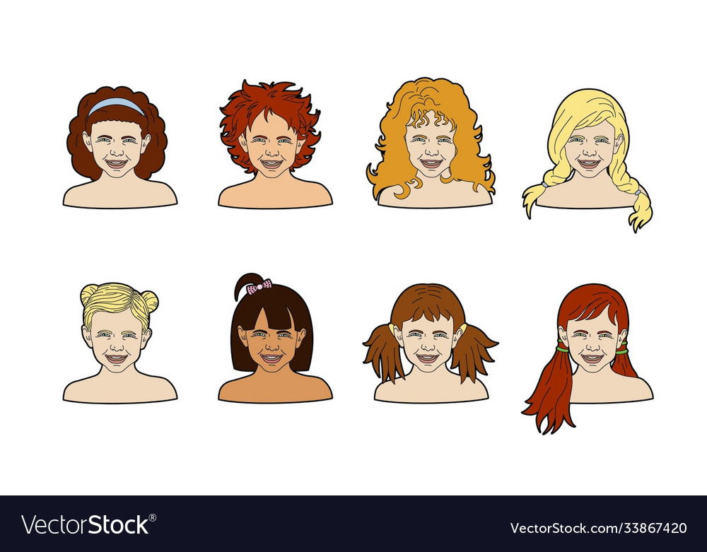 Girls Face With Different Hairstyles Royalty Free Vector
