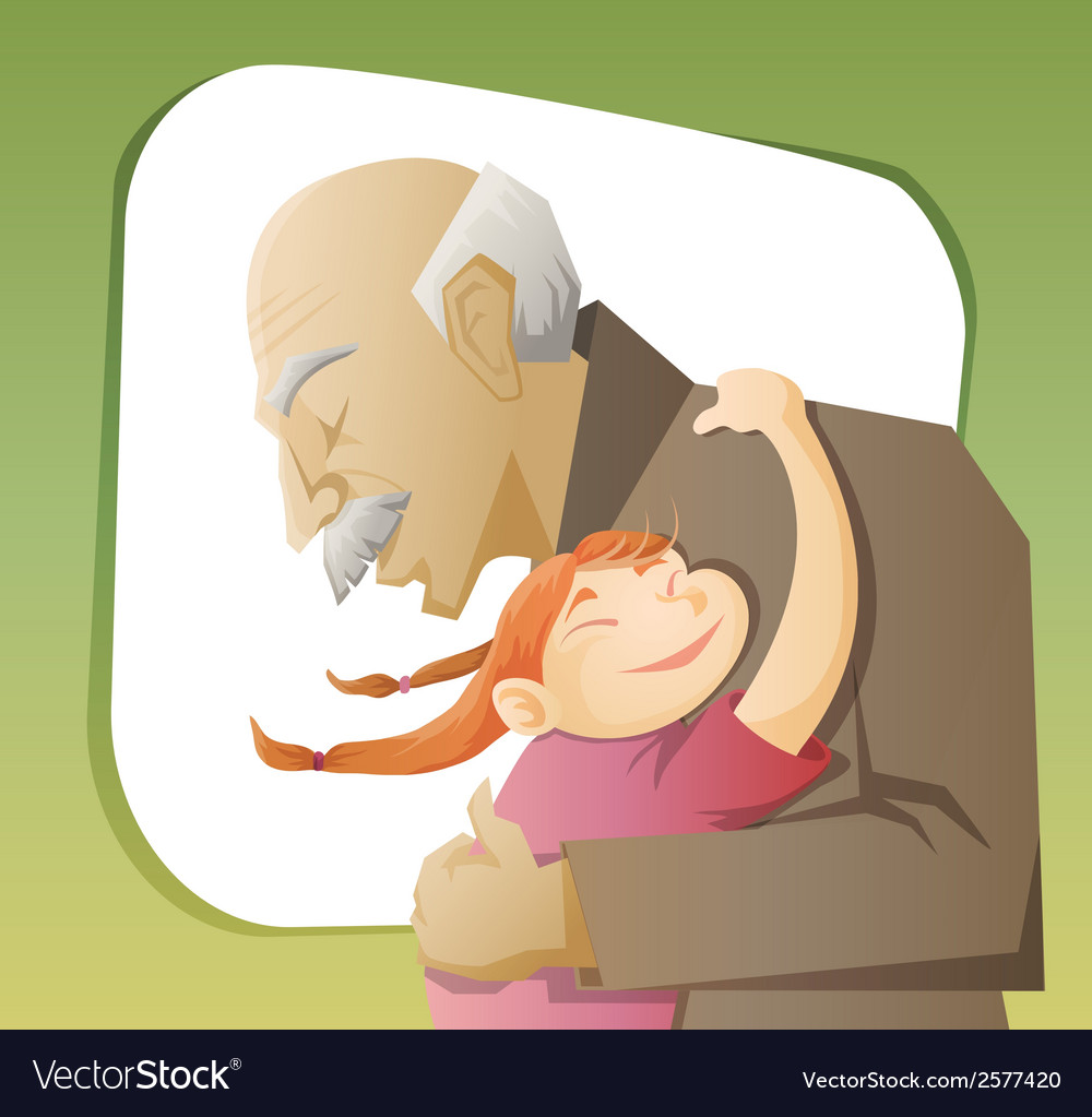 grandfather and grandchild royalty free vector image