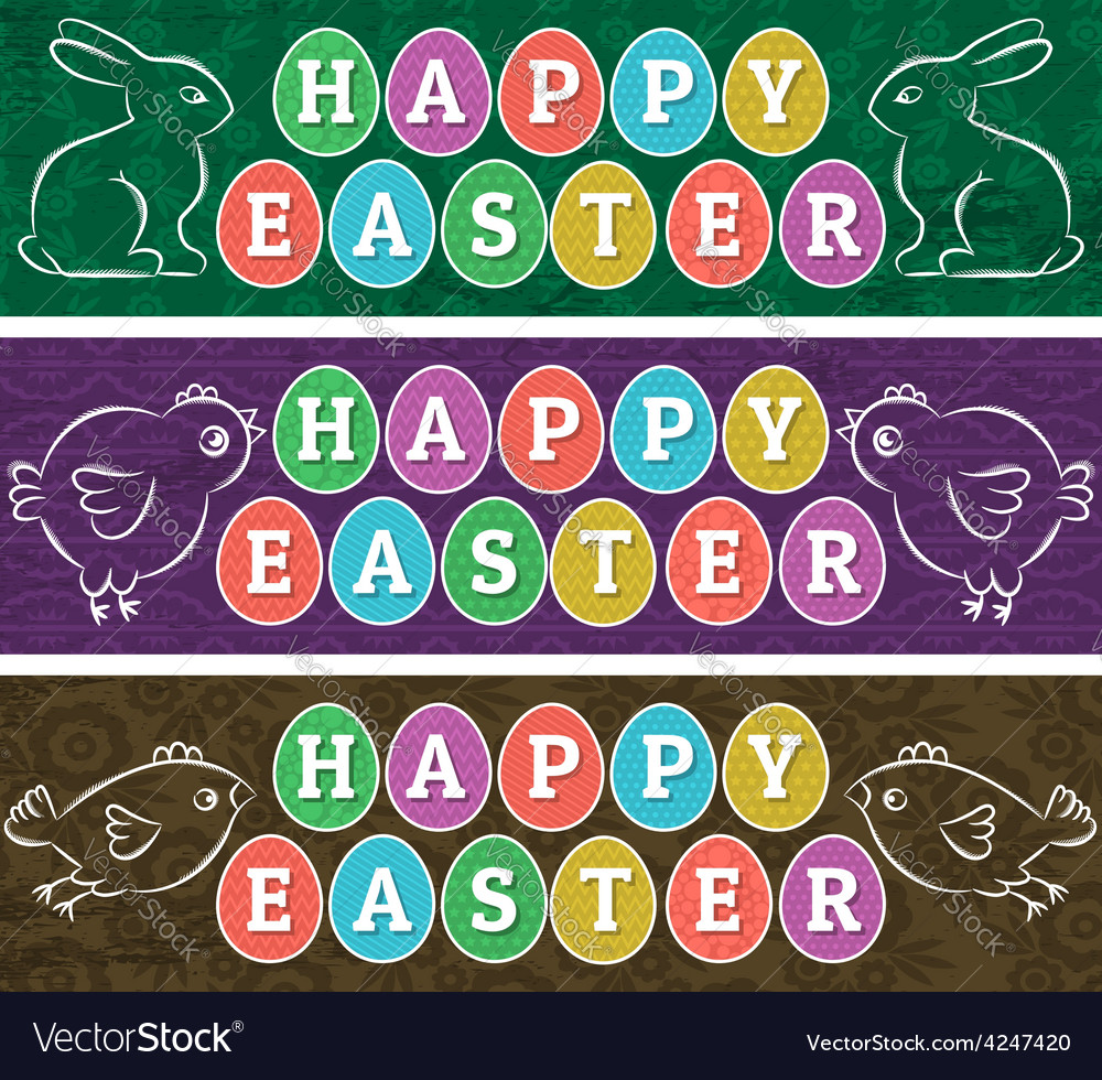 Greetings Web Banners For Easter Day Royalty Free Vector