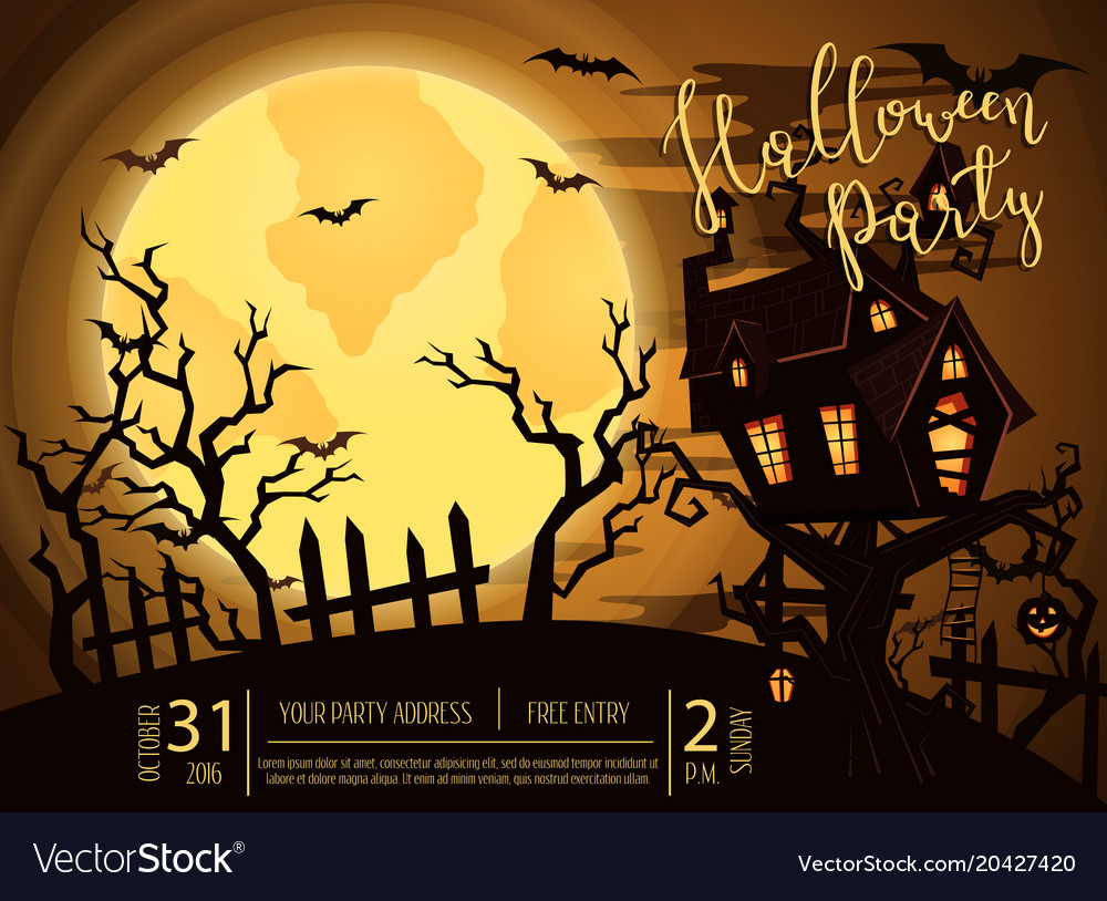 halloween party banner with spooky castle vector image