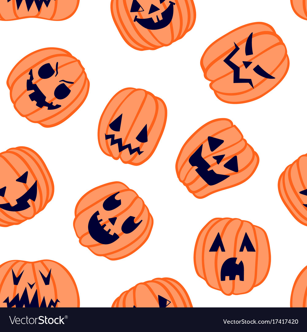 halloween scary pumpkin pattern 6 royalty free vector image