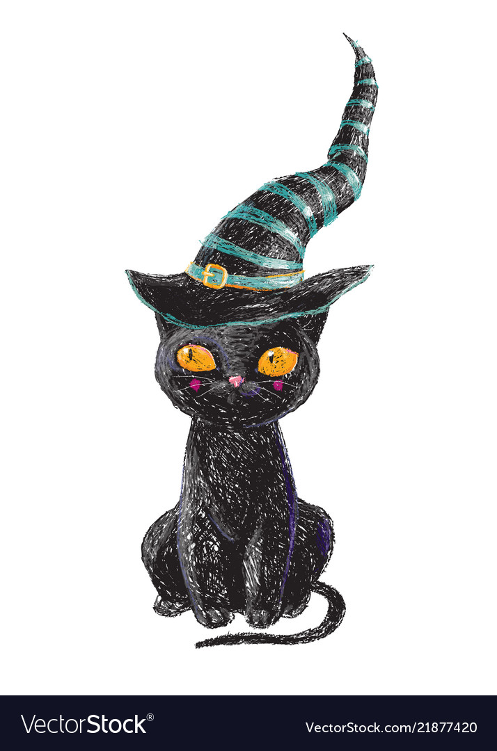 Hand drawn cute black witch cat with old hat