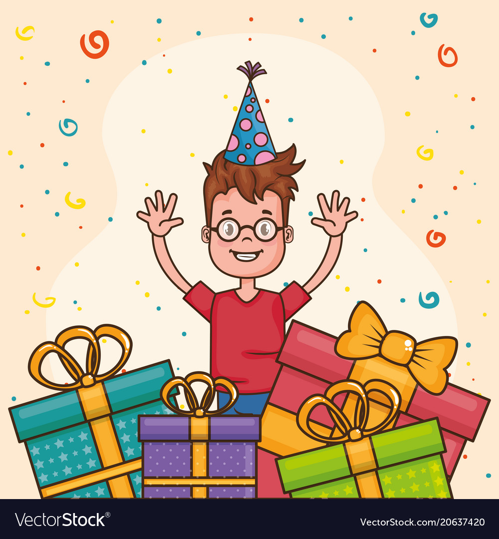 Happy birthday card with little boy vector image