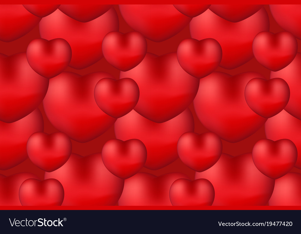 Happy valentine s day realistic 3d heart seamless