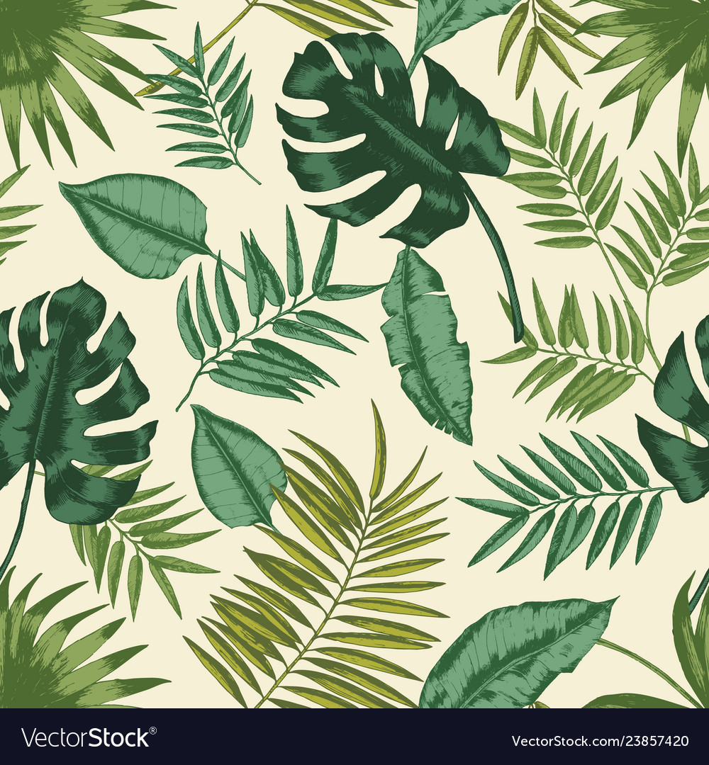 Hawaiian seamless pattern with exotic foliage