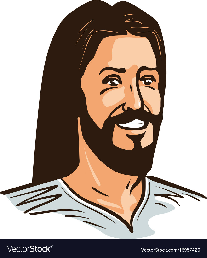 Portrait of happy jesus christ cartoon